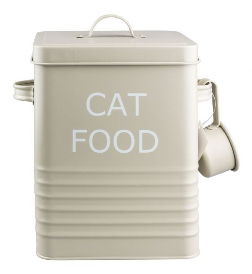 VINTAGE STYLE CAT FOOD TIN STORAGE BOX IN OLIVE FOR DRY FOOD, POUCHES,TREATS ETC